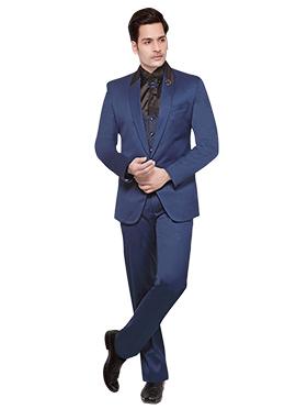 Blue Cotton Rayon Lapel Suit
