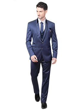 Blue Cotton Rayon Lapel Suit