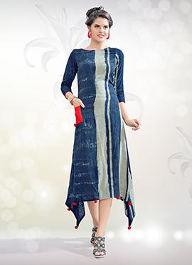 Blue Cotton Rayon Tunic