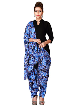 Blue Cotton Semi Patiala Pant