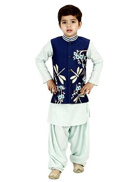 Blue Cotton Silk Kids Bandi Set