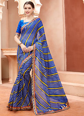 Blue Cotton Silk Leheriya Saree