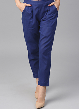 Blue Cotton Straight Pant