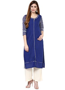 Blue Cotton Straight Pant Set