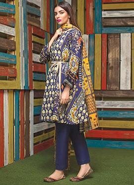 Blue Cotton Pakistani Lawn Suit