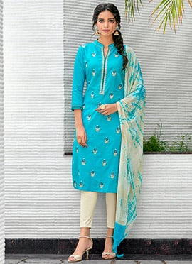 Blue Cotton Straight Pant Suit