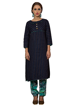 Blue Cotton Viscose Straight Pant Suit
