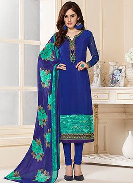 Blue Crepe Churidar Suit