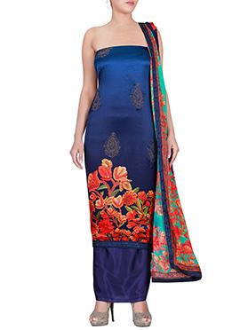 Blue Satin Dress Material