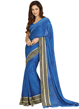 Blue Crepe Foliage Patterned Saree
