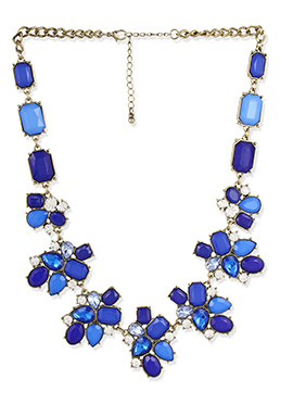 Blue Crystals Studded Necklace