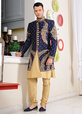 Blue Dhoti Style Layered Indo Western Sherwani