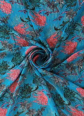 Blue Digital Printed Paper Silk Fabric