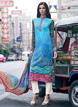 Blue Digital Printed Straight Pant Suit