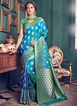 Blue Dual Tone Art Kancheepuram Silk Saree
