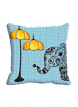 Blue Elephant Lamp Cushion Cover