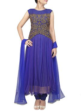 Blue Embellished Anarkali Suit