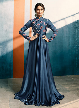 Jennifer Winget Blue Embroidered Anarkali Gown