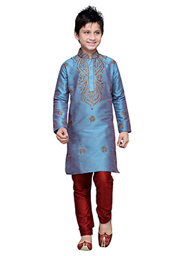 Blue Embroidered Art Silk Boys Kurta Pyjama
