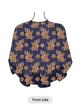 Blue Embroidered Net Cape