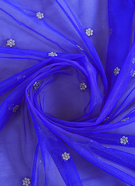 Blue Embroidered Net Fabric