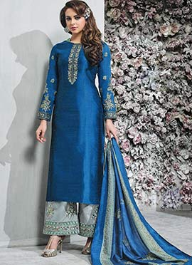 Blue Embroidered Palazzo Suit