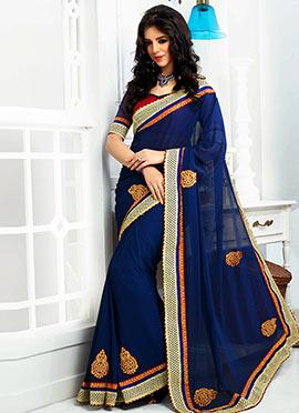 Blue Embroidered Saree