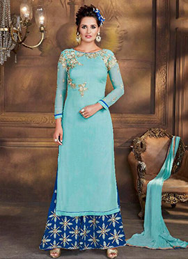 Blue Faux Georgette Palazoo Suit