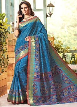 Blue Gadwal Cotton Silk Printed Foliage Designed S