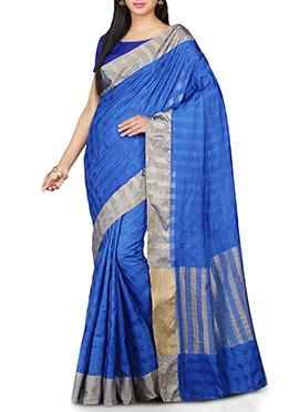 Blue Geometric Patterned Pure Silk Saree