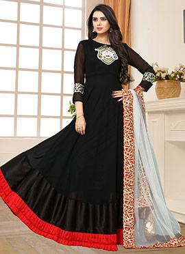 Black Georgette Abaya Style Anarkali Suit