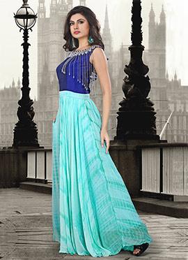 Blue Georgette Art Silk Gown