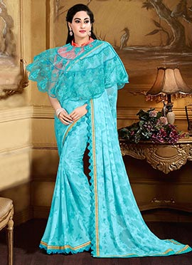 Blue Georgette Capes Style Saree