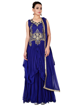 Blue Georgette Drapped Gown