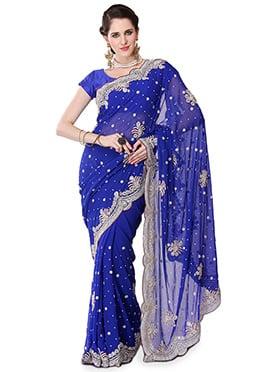 Blue Georgette Embellished Saree