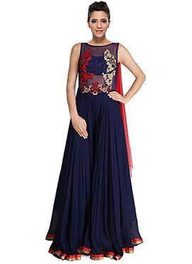 Blue Georgette Floor Length Anarkali Suit