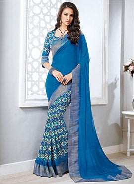 Blue Georgette Half N Half Saree