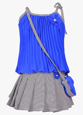 Blue Georgette Kids Shirt Set
