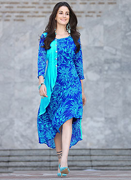Blue Georgette Knee Length Kurti