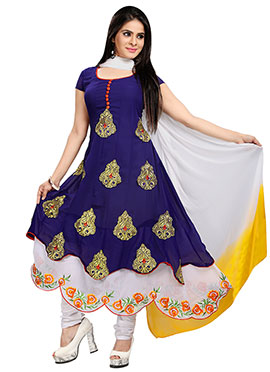 Blue Georgette Layered Anarkali Suit