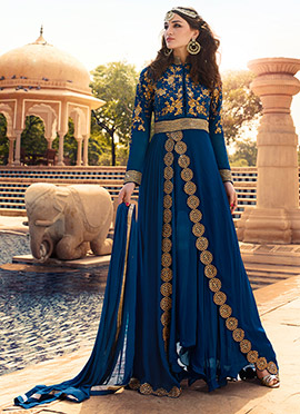 Blue Georgette Layered Floor Length Anarkali Suit