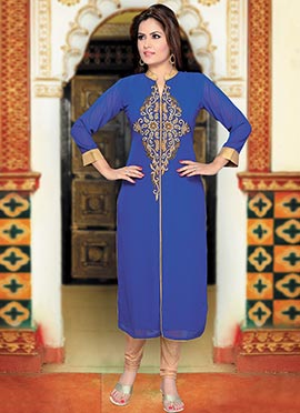 Blue Georgette Long Kurti