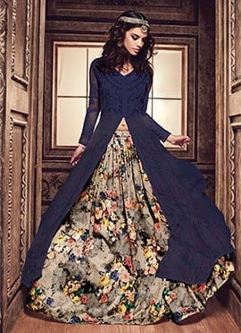 Blue Georgette N Net Anarkali Lehenga