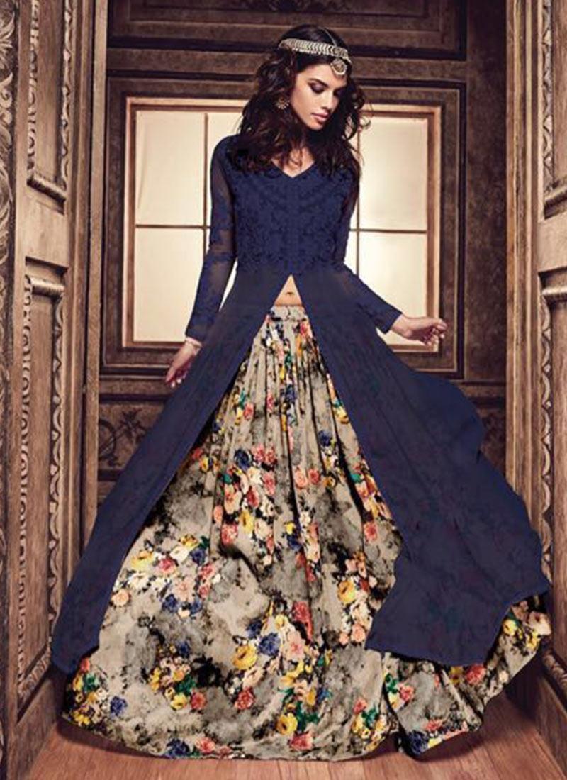 dd34cffb3 Buy Blue Georgette N Net Anarkali Lehenga