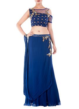 Blue Georgette N Net Croptop N Skirt Set