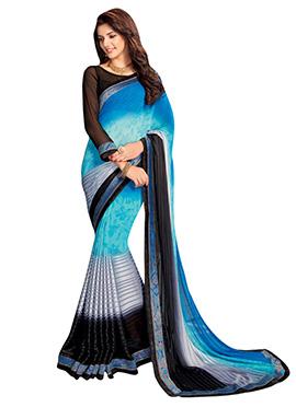 Blue Georgette N Satin Saree