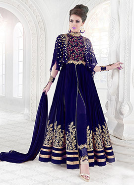 Blue Georgette Net Anarkali Suit