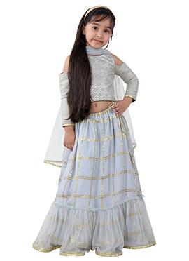 Blue Georgette Net Kids Lehenga