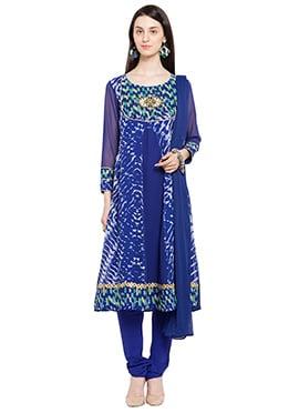 Blue Georgette Printed Anarkali Suit