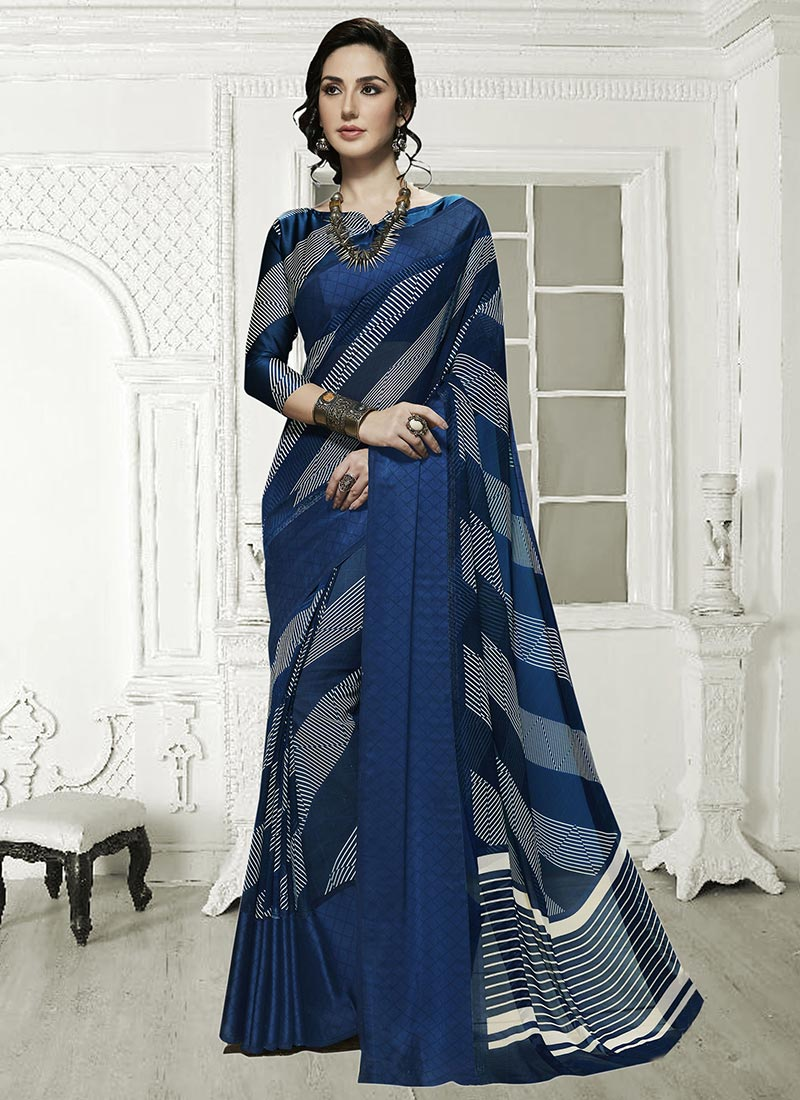 2284b21d61a Buy Blue Georgette Saree